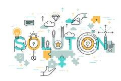 Línea fina bandera plana del diseño de soluciones del negocio stock de ilustración