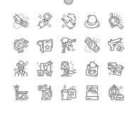 Línea fina Bien-hecha a mano rejilla 2x de los iconos 30 del vector perfecto del pixel del detective privado para los gráficos y  libre illustration