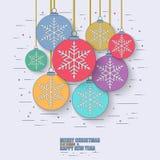 Línea fina bolas planas de la Navidad del concepto libre illustration