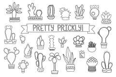 Línea fina cactus y clipart suculento Iconos en conserva del cactus y de los succulents stock de ilustración