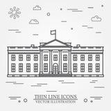 Línea fina casa del vector del blanco del icono libre illustration