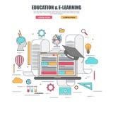 Línea fina concepto de diseño plano de la educación del aprendizaje electrónico stock de ilustración