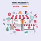 Línea fina concepto de diseño plano de las mercancías de la compra en la tienda en línea para la Navidad stock de ilustración
