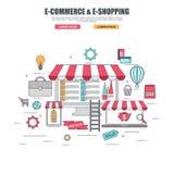 Línea fina concepto de diseño plano de las mercancías de la compra en tienda en línea stock de ilustración