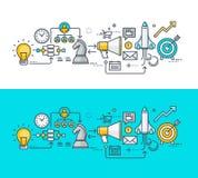 Línea fina concepto de diseño plano en el tema del plan empresarial stock de ilustración
