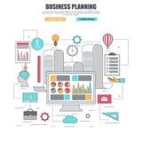 Línea fina concepto de diseño plano para la planificación de empresas stock de ilustración