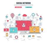 Línea fina concepto de diseño plano para la red social stock de ilustración