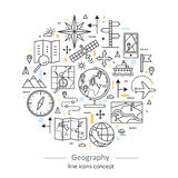 Línea fina concepto del color moderno de geografía ilustración del vector