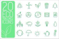Línea fina concepto determinado de los iconos del neture del eco Vector Fotos de archivo