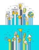 Línea fina conceptos de diseño planos para los servicios de Internet y los apps
