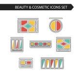 Línea fina cosmético plano del vector, belleza e iconos del maquillaje Foto de archivo