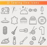 Línea fina de costura iconos Imágenes de archivo libres de regalías
