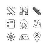 Línea fina diseño de la diversa aventura del icono libre illustration