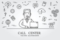 Línea fina diseño del centro de atención telefónica Icono de la pluma del centro de atención telefónica stock de ilustración