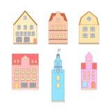 Línea fina diseño plano de casas Imágenes de archivo libres de regalías