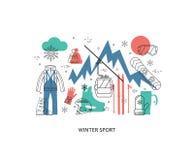 Línea fina diseño plano de deporte de invierno Fotos de archivo