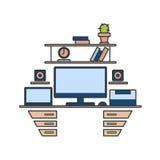 Línea fina diseño plano de lugar de trabajo Ejemplo moderno c del vector ilustración del vector