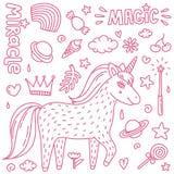 Línea fina ejemplo del vector con la materia handdrawn linda del unicornio y de la magia Milagro y criatura de la magia Fotos de archivo