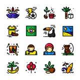 Línea fina ejemplo del vector de los iconos del Brasil stock de ilustración