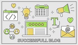 Línea fina ejemplo del vector plano de cómo establecer un blog de cinco estrellas acertado Incluye: hoja informativa, social, seo Libre Illustration