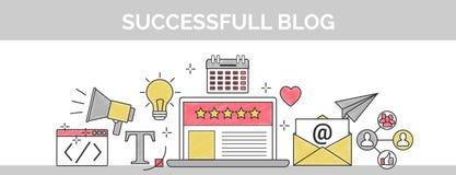 Línea fina ejemplo del vector plano de la portada del garabato de cómo establecer un blog de cinco estrellas acertado Incluye: ho Ilustración del Vector