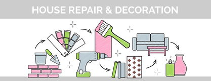 Línea fina ejemplo del vector plano de la portada del garabato de cómo organizar una secuencia de la construcción del hogar y de  Libre Illustration