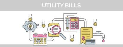 Línea fina ejemplo del vector plano de la portada del garabato de cómo pagar y calcular cuentas comunales de la instalación para  Libre Illustration