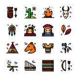 Línea fina ejemplo indio americano del vector del icono stock de ilustración