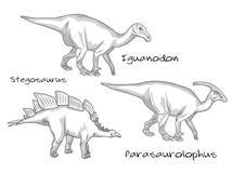 Línea fina ejemplos del estilo del grabado, diversas clases de dinosaurios prehistóricos, incluye el stegosaurus Ilustración del Vector