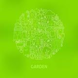 Línea fina el cultivar un huerto verde y concepto fijado iconos del círculo de las flores stock de ilustración