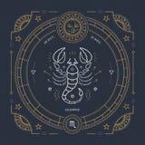 Línea fina etiqueta del vintage de la muestra del zodiaco del escorpión Símbolo astrológico del vector retro, místico, elemento s libre illustration