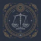 Línea fina etiqueta del vintage de la muestra del zodiaco del libra Símbolo astrológico del vector retro, místico, elemento sagra ilustración del vector