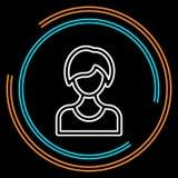 Línea fina femenina simple icono de Avatar del vector stock de ilustración