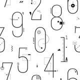 Línea fina geométrica Art Flat Style Numbers Background Foto de archivo