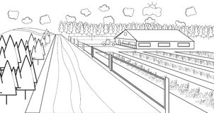 Línea fina granja rural Foto de archivo libre de regalías