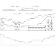 Línea fina granja rural del paisaje del esquema Pueblo del diseño del panorama moderno con la montaña, la colina, el árbol, el ci imagen de archivo