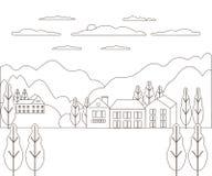 Línea fina granja rural del paisaje del esquema Pueblo del diseño del panorama moderno con la montaña, la colina, el árbol, el ci foto de archivo