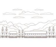 Línea fina granja rural del paisaje del esquema Pueblo del diseño del panorama moderno con la montaña, la colina, el árbol, el ci fotos de archivo libres de regalías