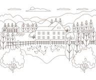 Línea fina granja rural del paisaje del esquema Pueblo del diseño del panorama moderno con la montaña, la colina, el árbol, el ci fotografía de archivo libre de regalías