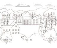 Línea fina granja rural del paisaje del esquema Pueblo del diseño del panorama moderno con la montaña, la colina, el árbol, el ci fotos de archivo