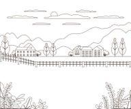 Línea fina granja rural del paisaje del esquema Pueblo del diseño del panorama moderno con la montaña, la colina, el árbol, el ci foto de archivo libre de regalías