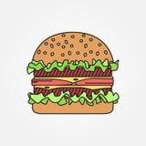 Línea fina hamburguesa del vector del icono Para el diseño web y el uso adentro libre illustration