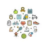 Línea fina icono de la plantilla redonda del diseño de la vida de la salud de la aptitud Vector ilustración del vector