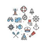 Línea fina icono del mar de la plantilla redonda náutica del diseño Vector ilustración del vector