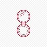 Línea fina icono del polvo compacto abierto del cosmético stock de ilustración