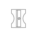 Línea fina icono, logotipo inmóvil de los sacapuntas de lápiz del vector del esquema ilustración del vector