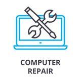 Línea fina icono, muestra, símbolo, illustation, concepto linear, vector de la reparación del ordenador ilustración del vector