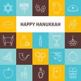 Línea fina iconos de Art Happy Hanukkah Jewish Holiday fijados Imágenes de archivo libres de regalías