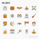 Línea fina iconos de Halloween de la historieta fijados Imagen de archivo libre de regalías