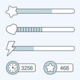 Línea fina iconos de la barra de progreso del tiempo del juego Imagen de archivo